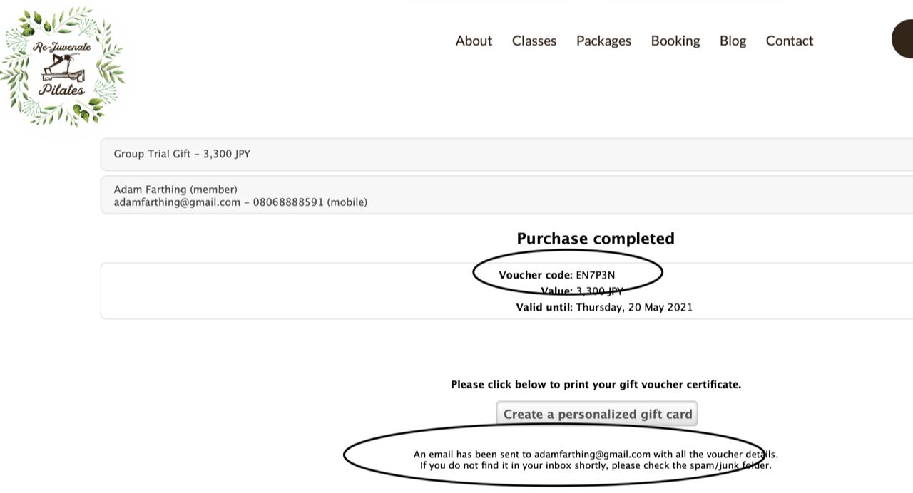Screenshot voucher purchase process